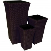 Set De 3 Maceteros Rectangular Color Café Rattan Plástico