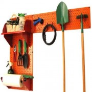 Wall Control 30-GRD-200 ORR Pegboard Garden Supplies Storage and Organization Garden Tool Organizer Kit with Orange Pegboard and Red Accessories