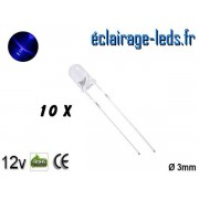 Lot de 10 LEDs bleues 3500 mcd 470 nm 30° ref ld-11