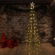 vidaXL Коледна елха конус, 140 LED, закрито и открито, 72x240 см