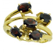 Garnet Gold Pleted Ring beauty Red gemstones Indian gift