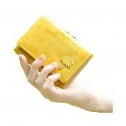 PU Botón Cartera De Cuero Del Monedero Del Embrague Del Bolso Del Bolso De Señoras Short (amarillo)