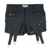 pantaloni scurți femei POIZEN INDUSTRIES - Jartieră - Negru - POI065