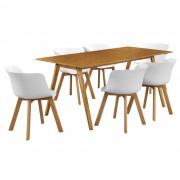 [en.casa]® Design blagovaonski set - stol(bambus) sa 6 stolica(bijela)