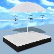 vidaXL Луксозен ратанов шезлонг за двама с чадър слънце, черен