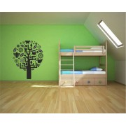 Tree with leaves and animals wall decal.