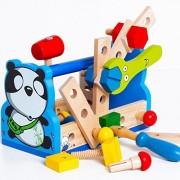 Baby Gift Kid Panda Take-Along Tool Kit Wooden Toy Educational Panda Nut Disassembling Tool Wooden Toys Gift