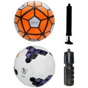 Combo of Ordem White/Orange + Premier League Purple Football (Size-5) with Air Pump & Sipper