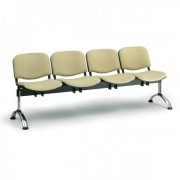 Kovo Praktik RAUMAN Čalouněné lavice VIVA, 4-sedák, chromované nohy oranžová