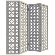 Shilpi Handicrafts Wooden Partition for Living Room Wooden Room Divider Screen Panel in white