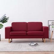 vidaXL 2-местен диван, текстил, виненочервен
