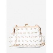 Zaful Sac à bandoulière transparent Hasp Faux Pearl Transparent