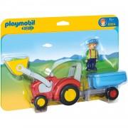 6964 Playmobil 1.2.3 Boer met tractor en aanhangwagen