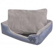vidaXL Кучешко легло с подплатена възглавница, размер L, сиво
