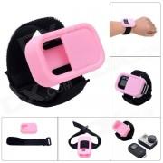 Estuche protector de muneca elastico de la correa de silicona para el control remoto de GoPro Hero3 + / 3 Wi-Fi - Rosa