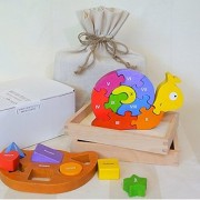 BeginAgain Toddler's Puzzle Gift Set w/ Storage Bag - Number Snail Balance Boat - Perfect First Puzzle Set for Babies & Toddlers
