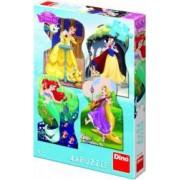 Puzzle 4 in 1 Dino Toys Printesele si prieteni 54 piese Multicolor