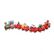 Oksale 6 Pieces/Set Wooden Santa Christmas Xmas Train Decoration Decor Gift for Kids