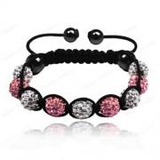 9 kristály gömbös shamballa karkötő - Rózsaszín-fehér
