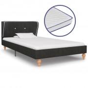 vidaXL Легло с матрак от мемори пяна тъмносиво конопен плат 90x200 см