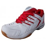 Port Men's SUPER SPARK Red White Synthetic Badminton Shoes(10 Ind/Uk)