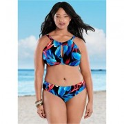 Plus Size Keyhole High Neck TOP Halter Bikini Tops - Red/blue