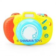 Cute Colorful Luminous Camera with 4 Sound Effects, 8 Animal Sounds, more than 10 different types of music learning & development toy for kids (yellow)