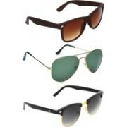 Zyaden Wayfarer, Aviator, Round Sunglasses(Brown, Green, Black)