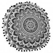 Perna decorativa rotunda cu ciucuri negrii Boho 45x10 cm