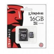 16GB microSDHC, с SD адаптер, Kingston, Class 4, скорост на четене 4MB/s, скорост на запис 4MB/s