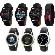 Jack Klein Combo of 6 Analogue Watches And Black Digital Led Band