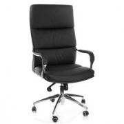 Hjh Silla de oficina BRUNELLO 20 de gran diseño, en piel, base cromada, negro