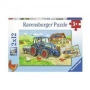 Пъзел Ravensburger 2х12 части - Строителна площадка и ферма, 7007616