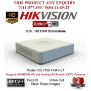 HIKVISION 1 MP FULL HD DS-7108HGHI-F1 Turbo HD 720P 8Ch. HD DVR Standalone 8Ch.
