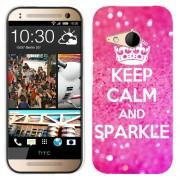 Husa HTC One Mini 2 M8 Mini Silicon Gel Tpu Model Keep Calm Sparkle