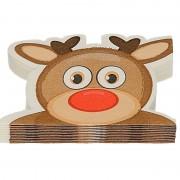 Merkloos 12x Rendier vorm Kerst servetten 33 x 33 cm