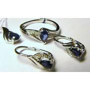 Luxusní diamantová zlatá souprava s modrými safíry a diamanty 11ks + 4ks SAFÍR