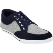 Shoe Island Trendy Navy Blue 'n' Grey Canvas Shoes For Men(Navy, Grey)