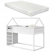 Детско легло със стълба, с матрак 200x90, Бяло