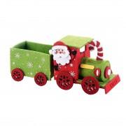 Trenulet decor Craciun textil verde rosu cm 22 x 8 x 9 H