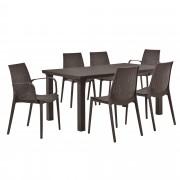 PremiumXL - [casa.pro] Vrtni stol sa 6 stolica- sa ratan efektom (smeđa)