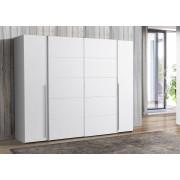 Lifestyle4Living Kleiderschrank in weiß, mit 2 Schwebe- und 2 Drehtüren, 10 Einlegeböden und 2 Kleiderstangen, Maße: B/H/T ca. 270,3/210/61,6 cm