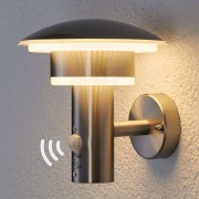 Lindby Round outdoor lamp stainless steel with motion sensor incl. LED - Lillie