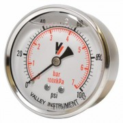 Valley Instrument Grade A Back Mount 2 1/2Inch Glycerin Filled Gauge - 0-100 PSI