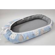 Baby Nest 0-6 luni Gri, bleu, nori si stele