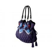 Eden Bag (dark purple) - torebka z włóczki wzór norweski
