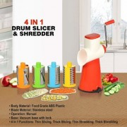 Nucleya Retail 4-in-1 Stainless Steel Drum Grater Shredder Slicer with 4 Different Drums Multi Colour