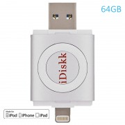 Pen Drive Lightning / USB 3.0 iDiskk - iPhone, iPad, iPod - 64GB - Prateado
