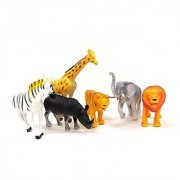 Animal World Toy Wild Animals Figures Large Size 6 piece Assorted Styles Elephant Giraffe Hippo Tiger Zebra and Lion