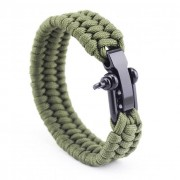 Army Green Paracord Karkötő - Fekete Zár